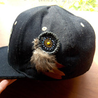 Heady Dream Catcher Hat Pin with River Shell and Glass Beads // Festival Head Wear