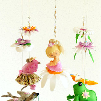 Colourful Baby MOBILE Thumbelina, Crib Baby Mobile, Mouse, Frog, Swallow, Butterfly Baby Mobile in Pink, READY To SHIP Hanging Baby Mobile