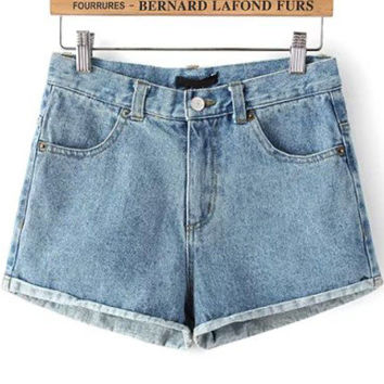 Blue Pockets Flanged Denim Shorts