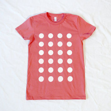 NEW COLOR White Dots on Coral Organic Tee by JessalinBeutler