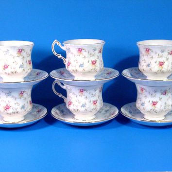 Vintage Porcelain Tea Cups Matching Saucers Paragon China LTD Cottage Rose First Choice Pattern