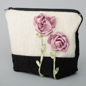 Handmade fabric cosmetic bag embroidered with ribbons Roses