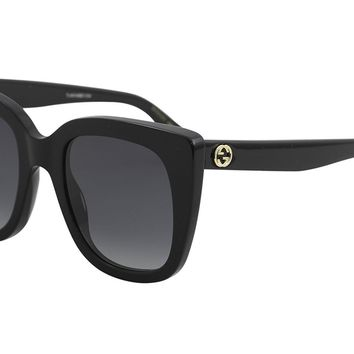 Gucci GG0163S 001 Black GG0163S Square Sunglasses Lens Category 3 Size 51mm