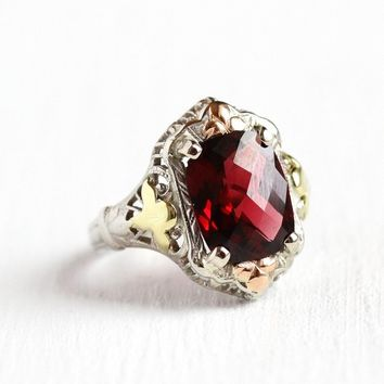Vintage Garnet Ring - 10k White Gold Art Deco 3.04 ct Genuine Red Gemstone - Size 5 Antique Filigree 1920s January Birthstone Fine Jewelry