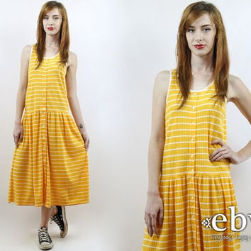 90s Dress Yellow Dress Striped Dress Summer Dress Drop Waist Dress Hipster Dress Vintage 90s Yellow + White Striped Midi Dress S M