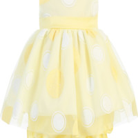 Glitter Polka Dots on Tulle Overlay Yellow Satin Spring Dress with Bloomers (Baby Girls)