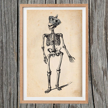 Vintage Royal Skeleton Print Crown Poster Antique Wall Art