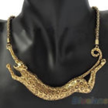 Leopard Animal Pendant Chunky Necklace Chain Women's Fashion Jewlery
