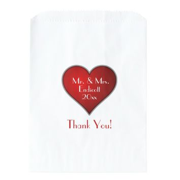 Romantic Red Heart with Name and Wedding Date Favor Bag