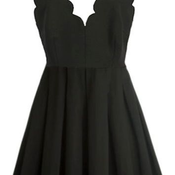 Model Moment Dress | Black Scalloped Mini Skater Dresses | RicketyRack.com