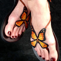 Hand painted butterfly sandals