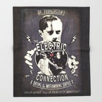 Dr. Frankenstein's The Electric Connection: Dating & Matchmaking Service- Old Metal Sign Throw Blanket by ImpART By Torg | Society6
