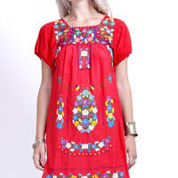 Vintage Red Mexican Puebla Dress