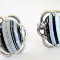 Black White Cufflinks, SilverTone, Collectible 60's,  Unisex Cufflinks, Patent #2974381
