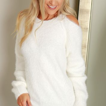 Cold Shoulder Mohair Sweater Off White