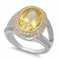 Miranda's Two Tone Sterling Silver & Yellow Topaz Cubic Zirconia Cocktail Ring