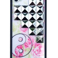 Yin Yang Floral Silver Studded Pyramid iPhone 4/4s Case