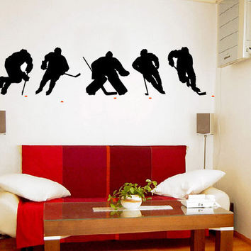 ICE HOCKEY PLAYERS Vinyl Wall Art Decal 2 Colors by 7decals