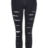 MOTO Super Ripped Blue Black Jamie Jeans - Blue Black