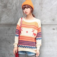 Cute Deer and Wave Pattern Knit Sweater