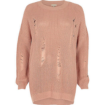 Light pink ladder knit jumper - jumpers - knitwear - women