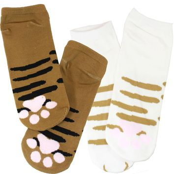 We are Brown Cat and White Cat Set Cute Cat Paw Socks