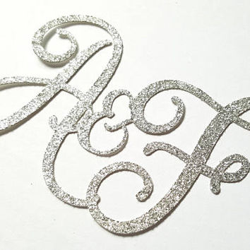 Monogram Cake Topper, Wedding cake, dessert table decor, cupcake, wedding, engagement, shaadi nikkah, couple, marriage, personalized glitter