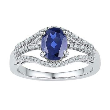 10kt White Gold Women's Oval Lab-Created Blue Sapphire Solitaire Diamond Ring 1-3-4 Cttw - FREE Shipping (US/CAN)