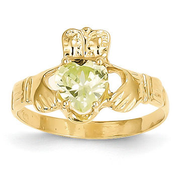 14k August Birthstone Claddagh Ring