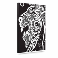 "Maria Bazarova ""Kind Lion"" Black White Canvas Art"
