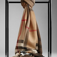 Check Ombre Wool Silk Scarf