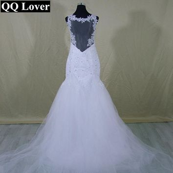 QQ Lover Fashion Lace Mermaid Wedding Dress Sexy Backless Tulle Detachable Train Wedding Gowns Custom Made 2017 Vestido De Noiva