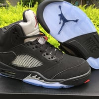 "Air Jordan 5 OG ""Black Metallic"" Mens Leather Basketball Shoes"