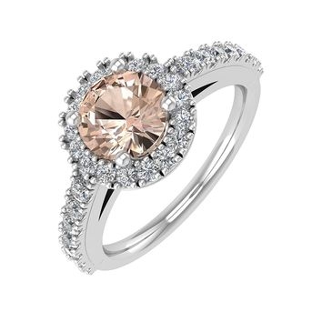 IGI CERTIFIED | 14K Gold Prong Set Diamond & Morganite 1.17 Carat Halo Engagement Rings (White, Yellow, Rose)