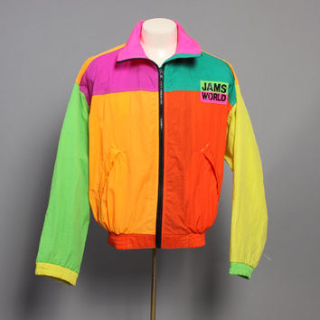 80s JAMS WORLD JACKET / Neon Colorblock Logo Windbreaker