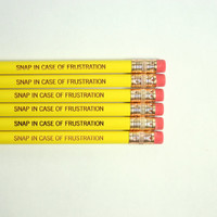 Snap in case of frustration Pencil set of 6 in yellow. Lucky exam pencil.