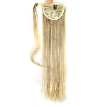 Soowee Blonde Synthetic Hair Wrap Ponytail Pony Tail False Clips In Hair Extensions Ponytails Fairy Tail for Black Women