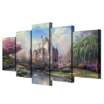 Fast US Ship - Cinderella's fairytale castle  5 piece panel Canvas Panel Art