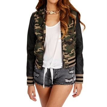 Camo Faux Leather Sleeves Jacket