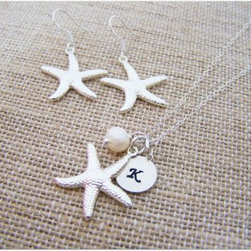 Bridesmaid Gift Set Initial Hand Stamped Silver Starfish and Pearl Personalized Sterling Silver Necklace and Earrings Set /  Gift for Her