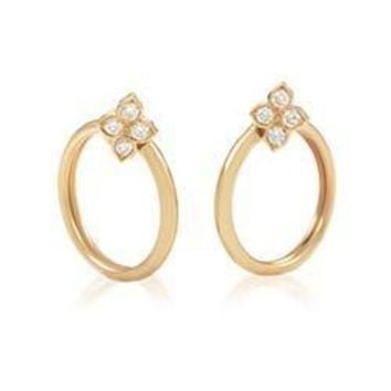 DCCKG2C Cartier Yellow Gold Diamond Flower Clip-on Hoop Earrings