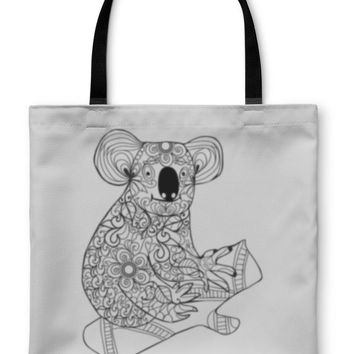 Tote Bag, Koala Black White Hand Drawn Doodle Animal For Coloring Page
