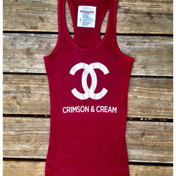 Crimson & Cream Chanel inspired Racer Back Tank