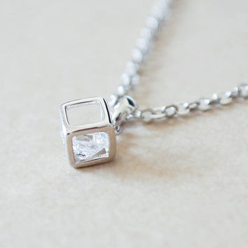 Silver Cube Frame Necklace with Floating Diamond Inside