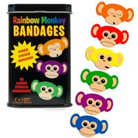 Rainbow Monkey Bandages : Unique Gifts: Mustache, Cupcake, Bacon, Star Wars, Geek & Funny Gift Ideas