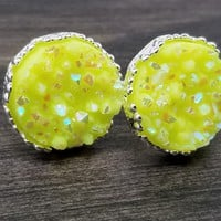 Ab Neon yellow faux druzy in Crown stud earrings (you pick setting tone)