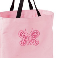Pink Ribbon Breast Cancer Awareness Love Courage Faith Hope Tote Bag Embroidered
