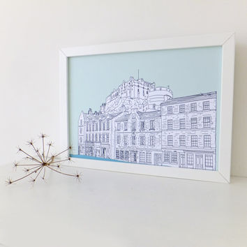 Edinburgh Print, Edinburgh Castle and Grassmarket, Mint green art print, digital print, art, Scottish art, Picture of Edinburgh, Scotland