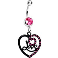Pink Gem Always in Love Dark Heart Dangle Belly Ring | Body Candy Body Jewelry