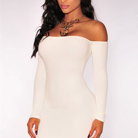 White Strapless Off-Shoulder Long Sleeves Bodycon Mini Dress